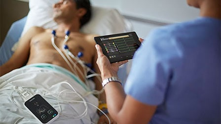 A Patient Being Monitored with Efficia ECG 100
